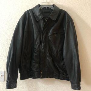 🧥Roundtree & Yorke Men's Black Leather Jacket